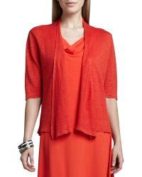 Eileen Fisher Cropped Lightweight Linen Cardigan - Lyst