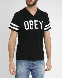 Obey Black Maddox Cotton T-Shirt black - Lyst