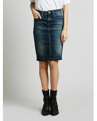 Free People Faithful Denim Skirt - Lyst