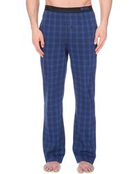 Hugo Boss Checked Cotton Jersey Pyjama Bottoms - Lyst