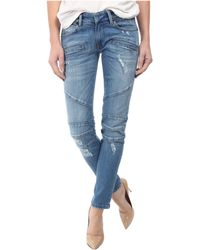Balmain Zipper Detail Distressed Skinny Jeans In Blue - Lyst