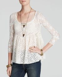 Free People Top - Gracie Lace Babydoll - Lyst