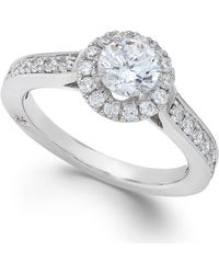 Marchesa Estate Halo By Certified Diamond Engagement Ring In 18K White Gold (1-1/4 Ct. T.W.) silver - Lyst