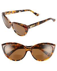 Corinne Mccormack - 'anita' 59mm Cat Eye Reading Sunglasses - Amber Tortoise - Lyst