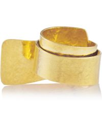 Herve Van Der Straeten Hammered Goldplated Ring - Lyst