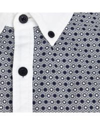 River Island White Tile Print Panel Oxford Shirt - Lyst