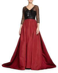 Carolina Herrera Embroidered Lace-Top Ball Gown - Lyst