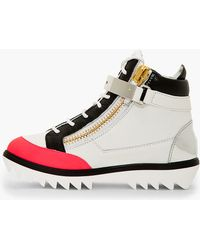 Giuseppe Zanotti Grey and Pink Grained Leather Toky Sneakers - Lyst