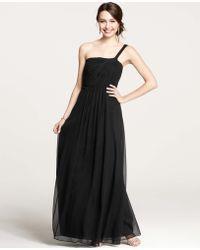 Ann Taylor Petite Silk Georgette One Shoulder Gown - Lyst