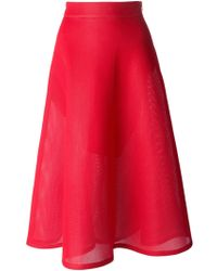 DKNY Red Flared Skirt - Lyst