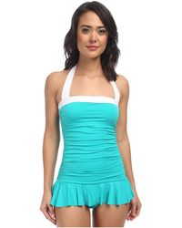 Lauren by Ralph Lauren Bel Aire Shirred Bandeau Skirted Mio Slimming Fit One-Piece - Lyst