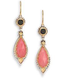 Konstantino Amphitrite Guava Agate, Black Onyx, 18K Yellow Gold & Sterling Silver Ornate Teardrop Earrings gold - Lyst