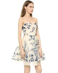 Notte By Marchesa Embroidered Strapless Dress - Navy - Lyst