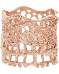 Aurelie Bidermann 18k Rose Gold Lace Ring - Lyst