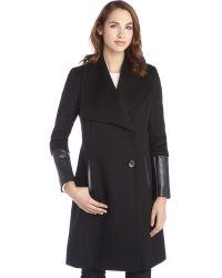 T Tahari Black Wool Blend Masada Faux Leather Detail Coat - Lyst