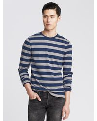 Banana Republic Luxe-Touch Striped Long-Sleeve Crew - Lyst