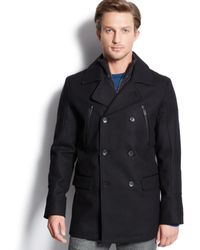 Calvin Klein Wool-blend Zip-detail Peacoat - Lyst