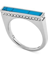 Michael Kors Silver-Tone Turquoise Inlay Bar Ring - Lyst