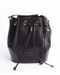 Gucci Black Diamante Leather Drawstring Shoulder Bag - Lyst