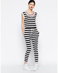 Love Moschino - Striped Jumpsuit With Embellished Neckline - Lyst