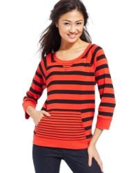 Jones New York Signature Petite Striped Kangaroopocket Sweatshirt - Lyst