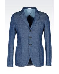 Armani Slim Fit Jacket In Cotton And Linen - Lyst