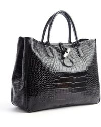 Longchamp Black Croc Embossed Leather Roseau Tote - Lyst
