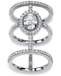 Palmbeach Jewelry - 2.56 Tcw Oval-cut And Micro-pave Cubic Zirconia Sterling Silver Triple-band Halo Ring - Lyst