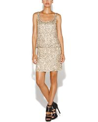 Nicole Miller Silk Sequined Scoopback Popover Dress - Lyst