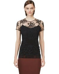 Burberry Prorsum Black Tulle Floral Embroidered Top - Lyst
