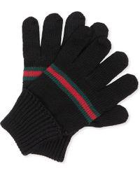 Gucci Web-trim Knitted Gloves M-l - Lyst