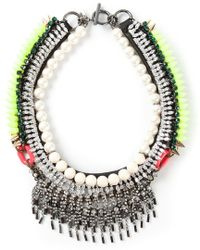 Venna - Pearly Spiked Collar - Lyst