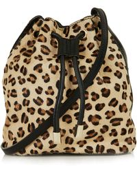 Topshop Leather Leopard Pony Duffel Bag - Lyst