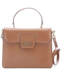 Ferragamo Brown Red Leather Convertible 'Top Handle' Bag - Lyst