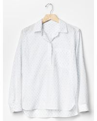 Gap Printed Dobby Roll-Sleeve Popover - Lyst