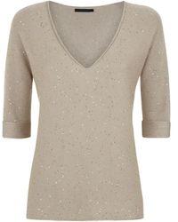 Les Copains Sequin V-Neck Sweater - Lyst