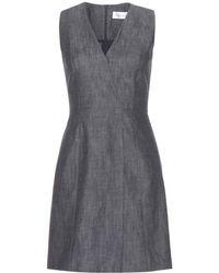 Victoria Beckham Front Wrap Denim Dress - Lyst