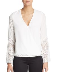 The Vanity Room | Lace Accented-knit Wrap Top | Lyst
