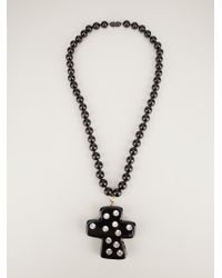Christian Lacroix - Crystal Studded Cross Pendant - Lyst