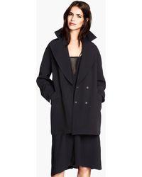 H&M Black Wide Coat - Lyst