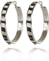 River Island Black Zebra Print Studded Hoop Earrings - Lyst