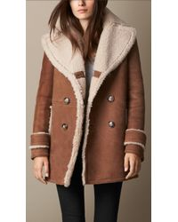 Burberry A-line Shearling Coat - Lyst