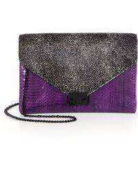 Loeffler Randall Watersnake Calf Hair Junior Lock Clutch - Lyst