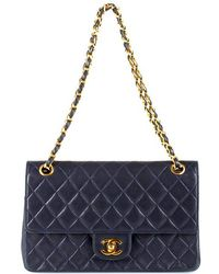 "Chanel Pre-Owned Navy Double Flap 10"" 2.55 Bag - Lyst"
