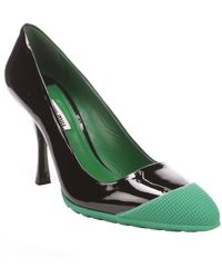 Miu Miu Black and Green Patent Leather Rubber Cap Toe Pumps - Lyst
