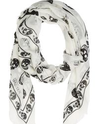 Alexander McQueen White and Black Skull Scarf - Lyst