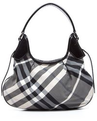 Burberry Black Small Beat Check Hobo Bag - Lyst