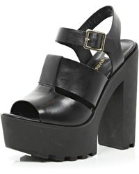 River Island Black Cleated Sole Platform Sandals - Lyst