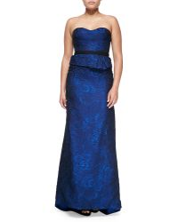 J. Mendel Organza Jacquard Bustier Strapless Gown - Lyst