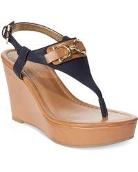 Tommy Hilfiger Womens Myrtie Platform Wedge Thong Sandals - Lyst